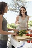 Vrouwen bereiden van voedsel op een diner — Stockfoto