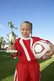 Girl With Trophy And Soccer Ball — Stock Photo