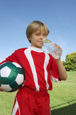 Soccer Player Drinking Water — Stock Photo