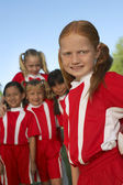 Group of Girl Soccer Players — Stock Photo