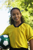 Girl Holding Soccer Ball — Foto de Stock