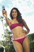 Woman In Bikini Taking Self Portrait — Stock Photo