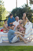 Happy Family Together In Lawn — Stock Photo