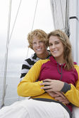 Young Couple On Sailboat — Stok fotoğraf
