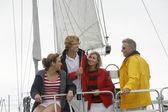 Family On Sailboat In Sea — Stock Photo