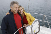 Couple Embracing On Sailboat — Stock Photo