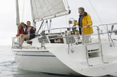 Family Sailing On Boat During Vacations — Stock Photo