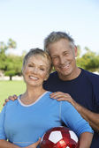 Caucasian Couple With Soccer Ball — Stock Photo
