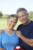 Couple With Soccer Ball In Park — Stock Photo
