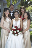Quinceanera Standing With Parents And Friends In Lawn — Stock Photo