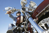 Biker Riding Motorcycle — Stockfoto