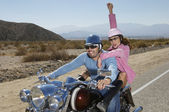 Couple Having Fun On Motorcycle — Stock Photo