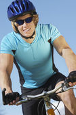 Male Cyclist Riding Bicycle — Stockfoto