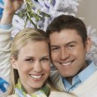 Portrait Of Couple Under Mistletoe — Stock Photo
