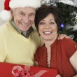 Multiethnic Couple Holding Gift Box Standing By Christmas Tree — Stock Photo