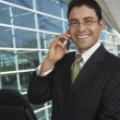 Happy Businessman Using Cell Phone — Stock Photo