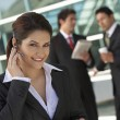 Businesswoman Using Cell Phone Outside Office — Stock Photo