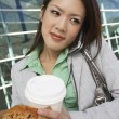 Business Woman On Call Holding Takeout Food — Stok fotoğraf