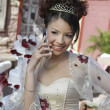 Quinceanera Using Cell Phone — 图库照片
