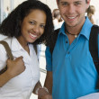 Multiethnic College Students With Book — Stock Photo