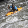 Man Kayaking In Mountain River — Stock Photo