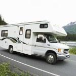 USA, Alaska, Recreational Vehicle Driving On Road — Stock Photo