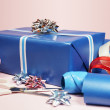 Gift With Scissors, Tape And Ribbons — Stock Photo