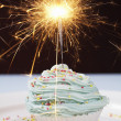 Single Cupcake With Lit Sparkler — Stock Photo