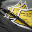 Parking Tickets Under Windshield Wiper - Stock Photo