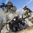 Soldiers Aiming Machine Guns — Stock Photo