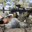 Stock Photo: Soldiers Aiming Machine Gun