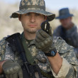 Soldier Using Compass — Stock Photo