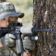 Soldier Aiming Machine Gun — Stock Photo