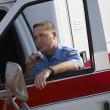 paramedic using cb radio — Stock Photo