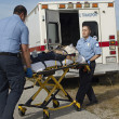 Paramedics Transporting Victim On Stretcher — Stock Photo #21958675