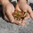Foto de Stock  : Man's hands holding bullets by guns