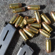 Gun Magazine And Bullets On Carpet — стоковое фото #21959379