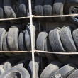 Old Tires In Rack - Stock Photo