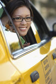 Woman Looking Out Of Taxi Window — Stock Photo