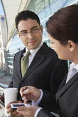 Businesspeople Discussing Outside Office — Stock Photo