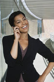 Happy Businesswoman Using Cell Phone — Stock Photo