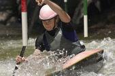 Young Woman Whitewater Kayaking — Stock Photo