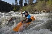 Caucasian Man Kayaking — Stock Photo