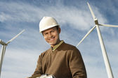 Happy Engineer At Wind Farm — Stock Photo
