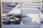 Video Monitor With Pictures From Security Cameras — Stock Photo