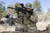 Soldiers Aiming Machine Guns — Stock Photo