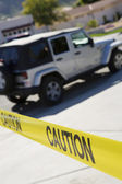 Jeep Behind Police Tape — Stock Photo