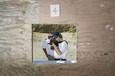 Instructor With Woman Aiming Machine Gun At Firing Range — Stock Photo