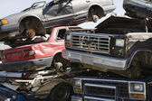 Stacked Cars In Junkyard — Stock Photo