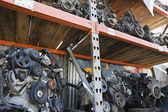 Engines On Shelves In Junkyard — Stock Photo